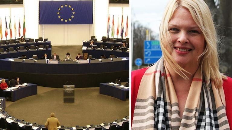 EU-parlamentet i Strasbourg och Anna Hedh.
