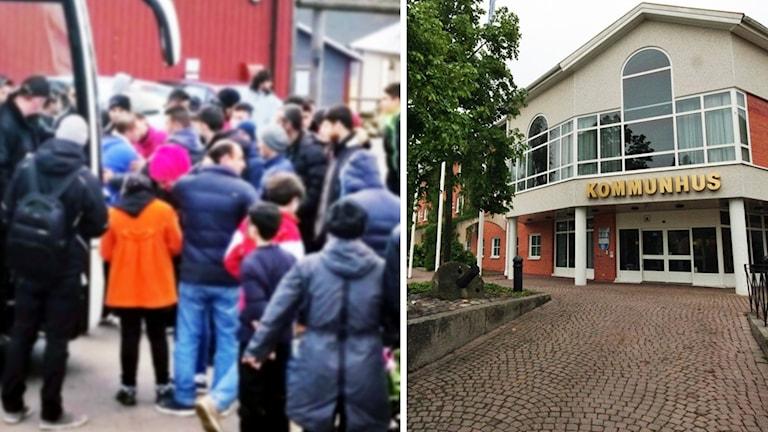 Asylsökande och Hultsfreds kommunhus.