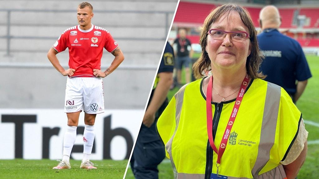 Två delad bild. Till höger en Kalmar FF spelare. Till vänster Eivor Nilsson på länsstyrelsen.