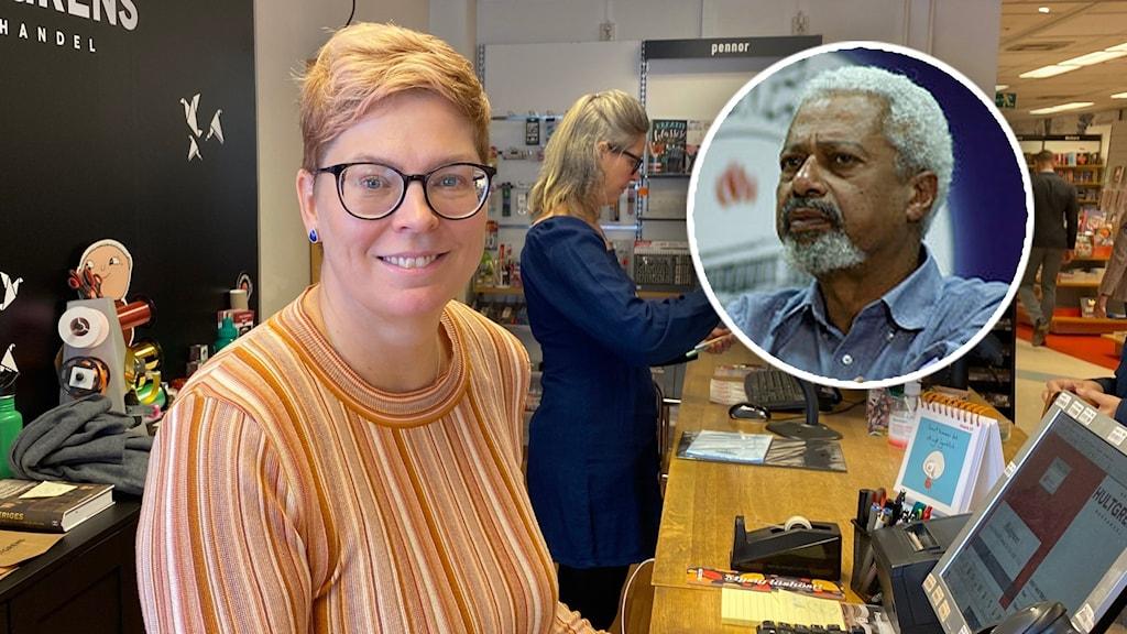 En kvinna står bakom en affärsdisk med en inklippt bubbla med en bild på en man.