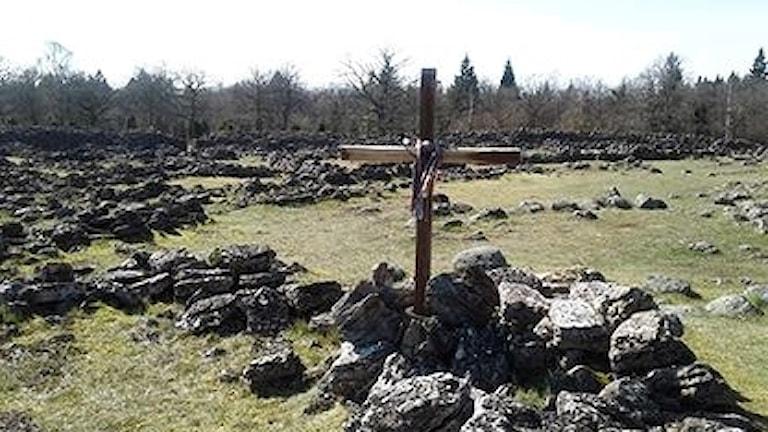 Någon har rest ett träkors på Ismantorps borg.