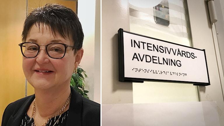 Sjukhushef Birgitta Hjalmarsson har svart kort hår och svarta glasögon på bilden. Till höger syns en skylt med texten Intensivvårdsavdelning.