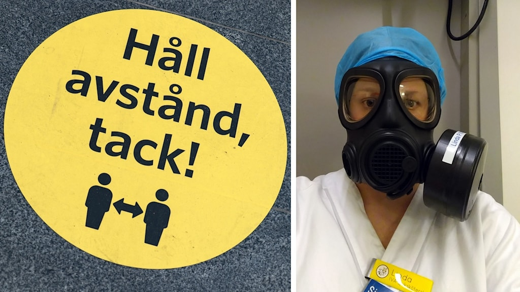 Rund gul skylt med svarta bokstäver som uppmanar att hålla avstånd och en bild på en intensivsköterska med ansiktsmask.