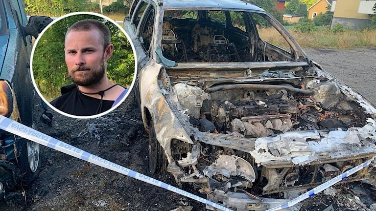 En bil som är förstörd i en brand och en närbild på en person.