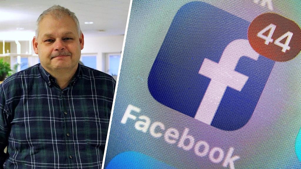 Bild på man i skjorta och en bild på den blå Facebook-logotypen.