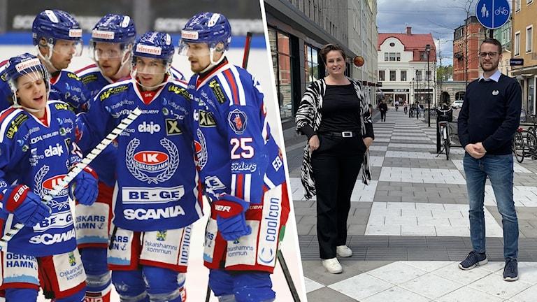 Ett ishockeylag och två personer.
