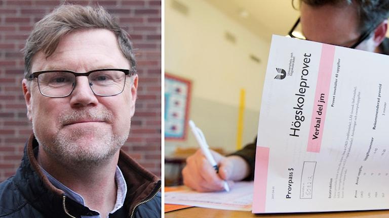 Jesper Ericson och person som skriver prov.