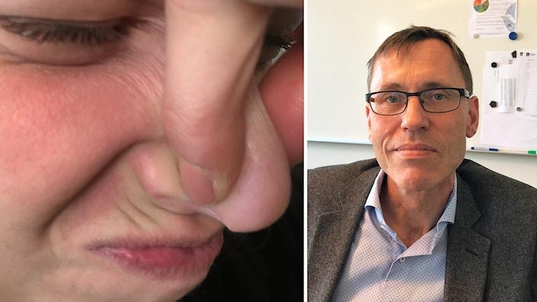 Två bilder, varav ena bilden visar ett barn som håller för näsan och den andra visar en man i glasögon.