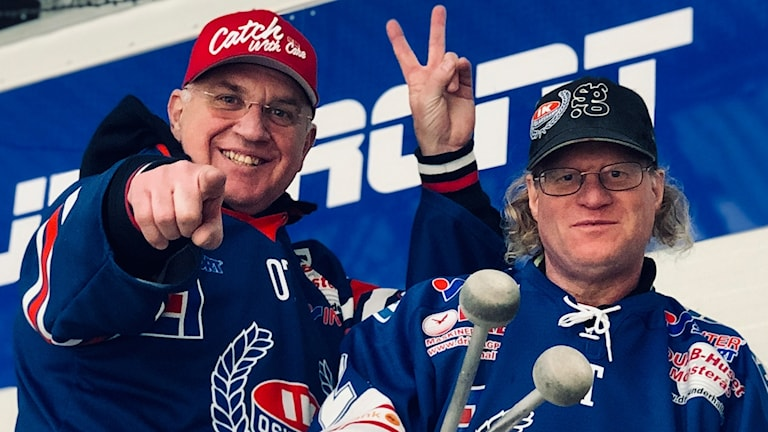 Supportrarna Thomas Björklund och Joakim Johansson.