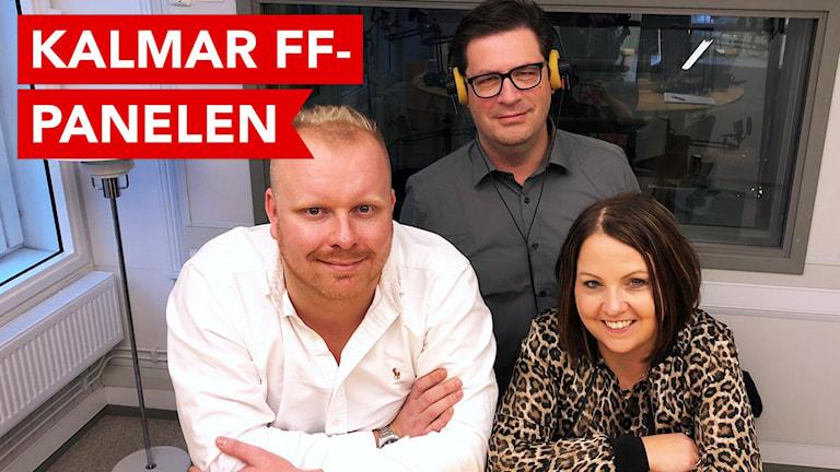 Tre personer i radiostudio.