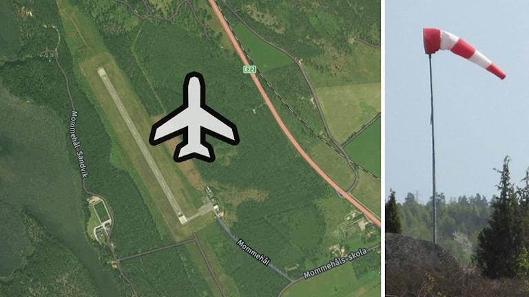 Karta över Västerviks flygplats och vindstrut.