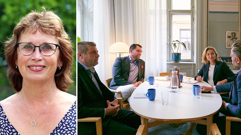 Bild på Gudrun Brunegård och en bild på Jimmie Åkesson och Ebba Busch Thor som sitter vid ett bord.