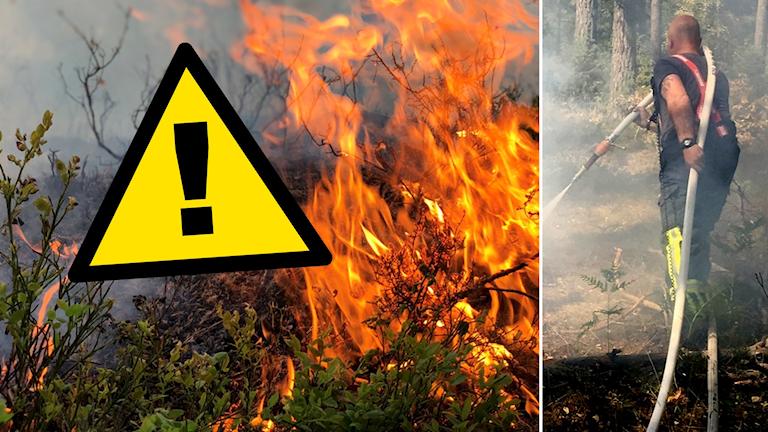 Varningstriangel och skogsbrand.