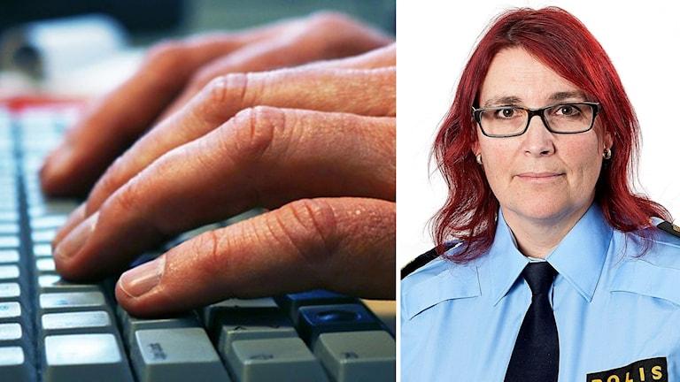 Hand på tangentbord och bild på Petra Stenkula.