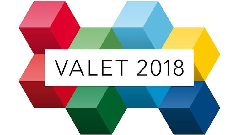 """Grafik med kuber och texten """"Valet 2018""""."""