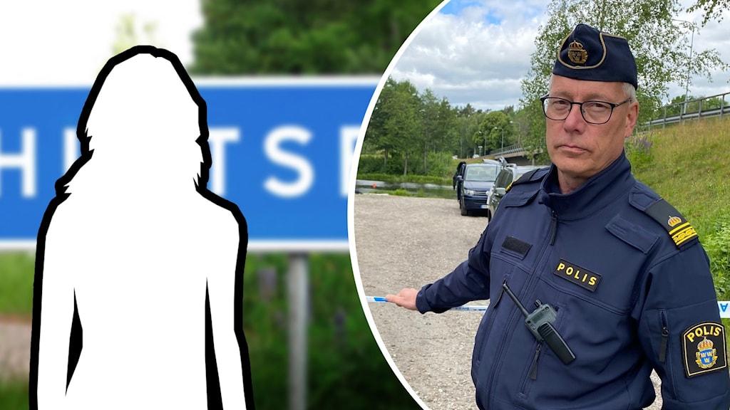 Siluett framför en vägskylt och en bild på en man i polisuniform.