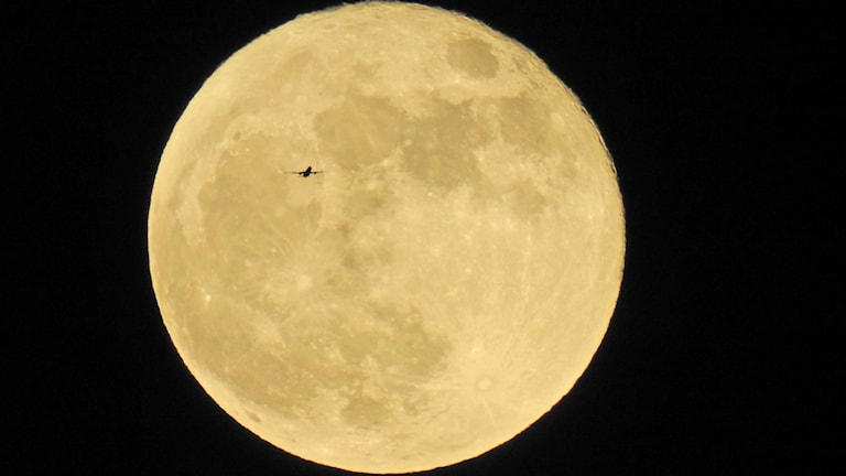 Månen med ett flygplan framför.