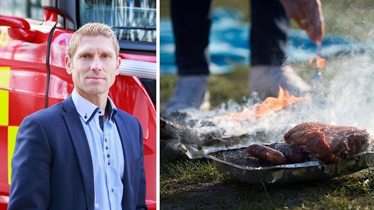 Kollage: Joakim Jansson, räddningschef i Västerviks kommun/engångsgrill.