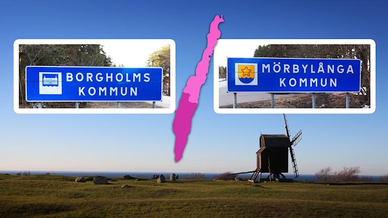 Kollage: Borgholms kommuns och Mörbylånga kommuns vägskyltar.
