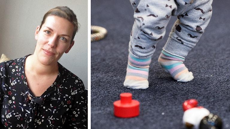 Kollage: Charlotte Karlenvie, genusvetare/barn och leksaker.