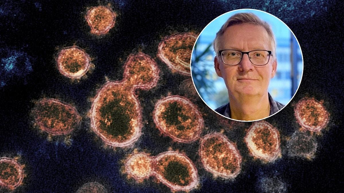 Viruspartiklar sedda genom mikroskop och infälld bild på man som tittar mot kameran.