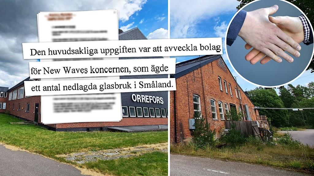 """Glasbruksbyggnader. Faksimil med texten """"Den huvudsakliga uppgiften var att avveckla bolag för New Waves koncernen"""". Handslag."""