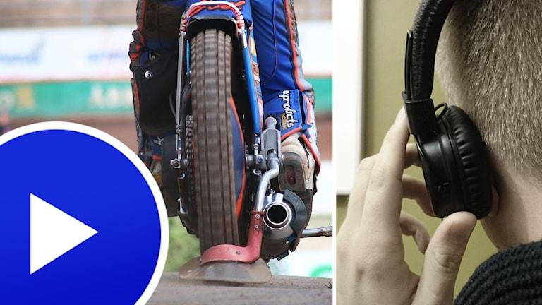 Speedwaycykel och man med hörlurar.