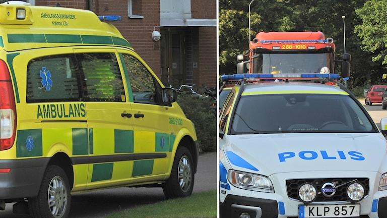 Polis, brandkår och ambulans.