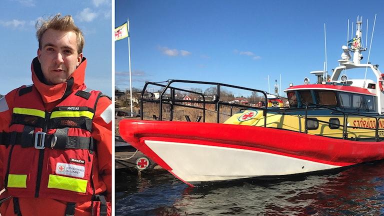En manlig sjöräddare och sjöräddningsbåten Rescue Burre
