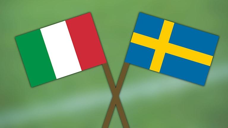 Italiens och Sveriges flaggor.