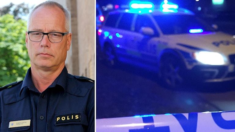 Robert Loeffel och polisbil med avspärrningsband.