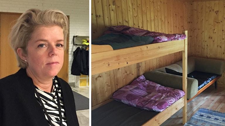 Cecilia Frid och sängar.