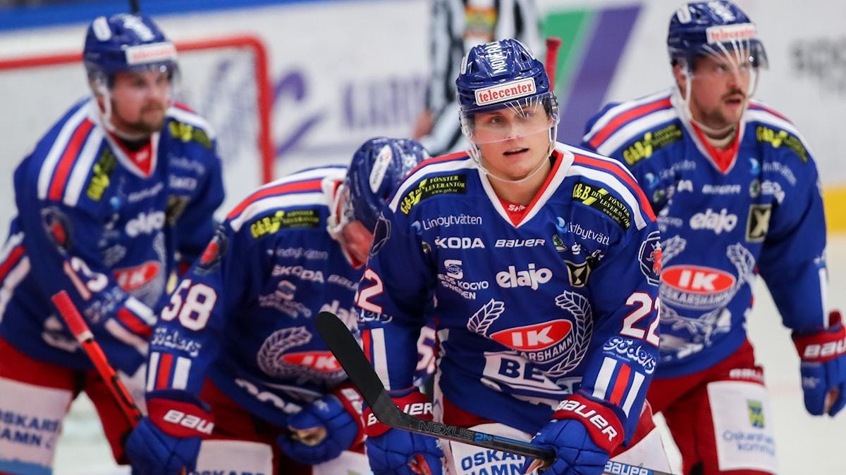 En ishockeyspelare som gjort mål.
