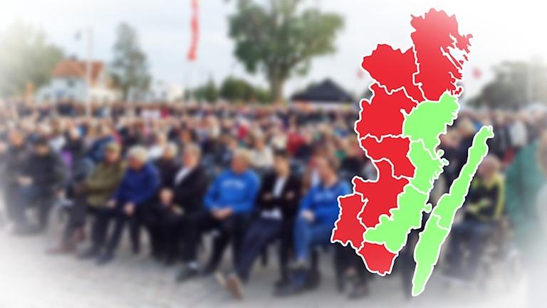Grafik som visar vilka kommuner i Kalmar län som ökat och vilka som minskat i befolkningsmängd.