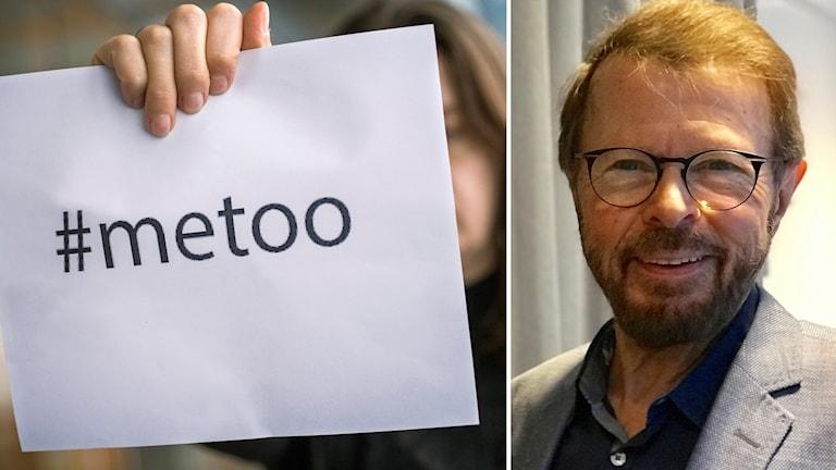 En lapp med texten #metoo och Björn Ulvaeus