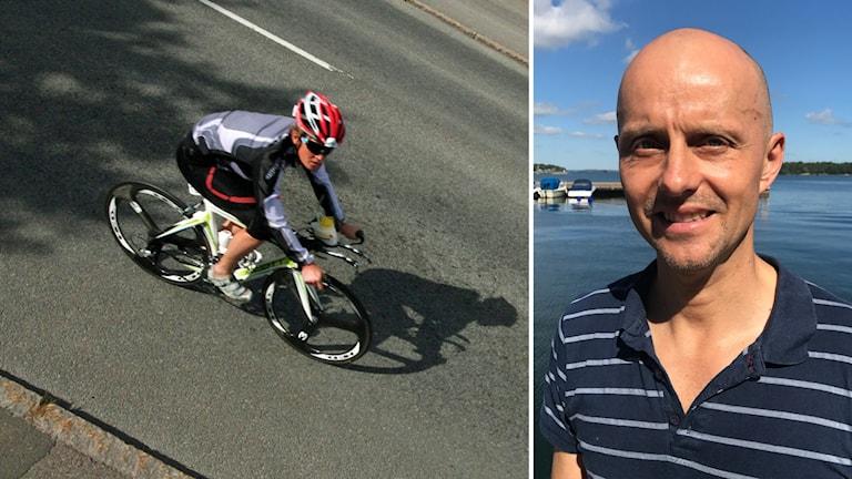 Man på cykel och Jarek Milewski.