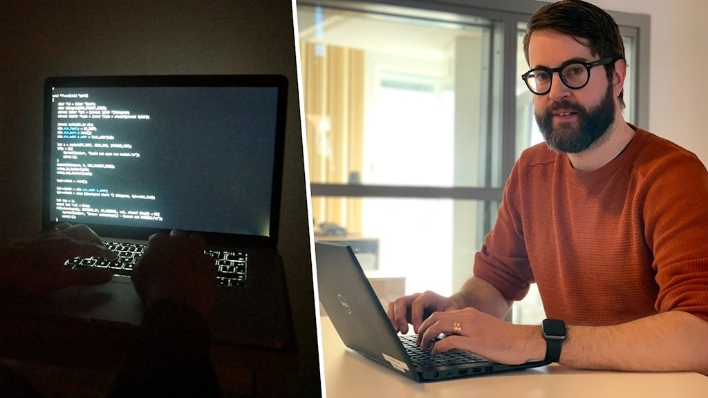 En datorhackare, samt en man som sitter vid en dator.
