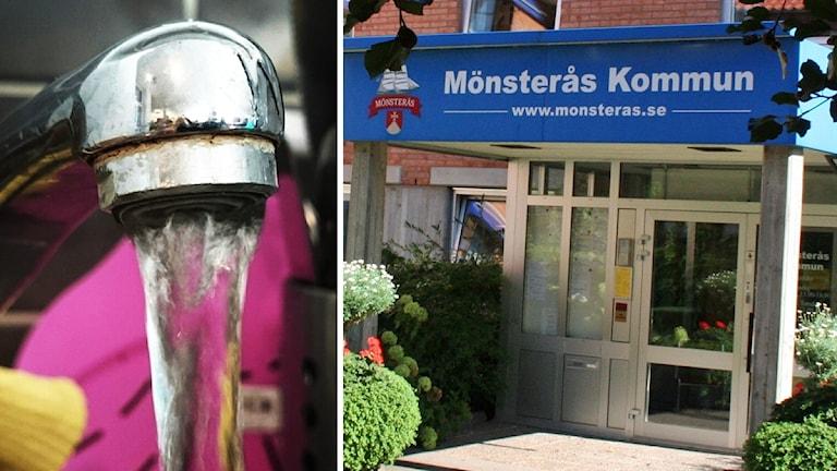 Vattenkran och skylt till entrén vid Mönsterås kommun.