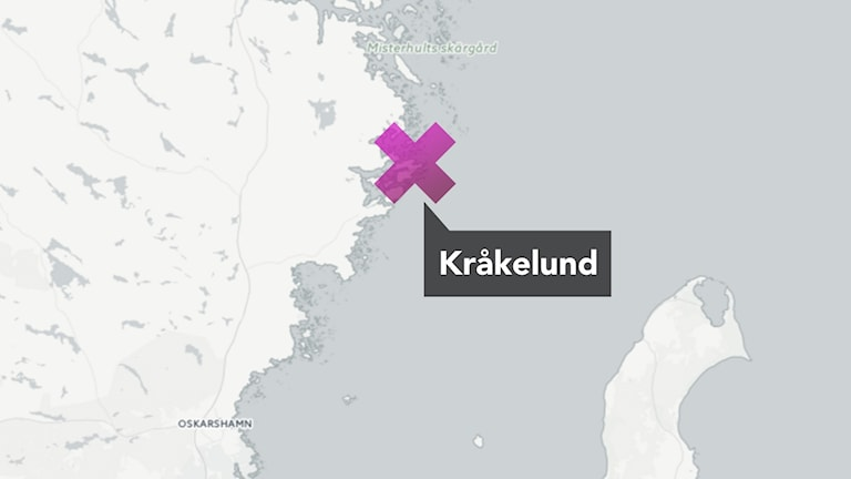 Karta med rosa kryss vid Kråkelund