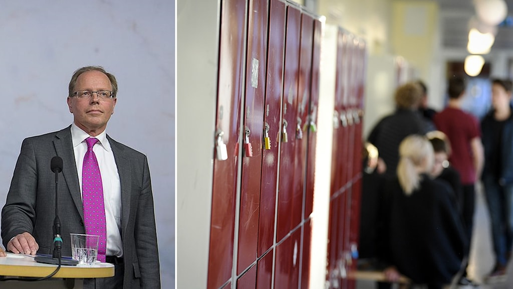 Kollage med bild på en man samt en bild på en skolkorridor.