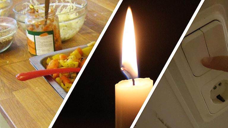Mat, stearinljus, lampknapp.