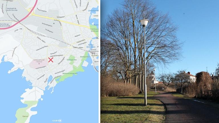 Till vänster en karta över Kalmar, till höger en bild på en gångväg genom en park.