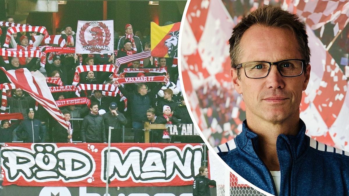 Bild på fotbollspublik och bild på man med glasögon.