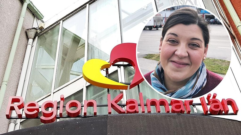 Region Kalmar läns logga och en närbild på en person.