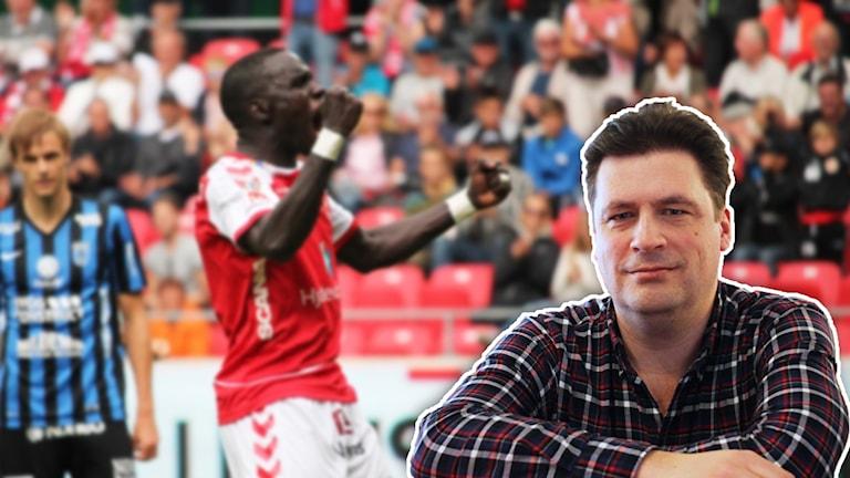 Magnus Krusell framför fotbollsspelare