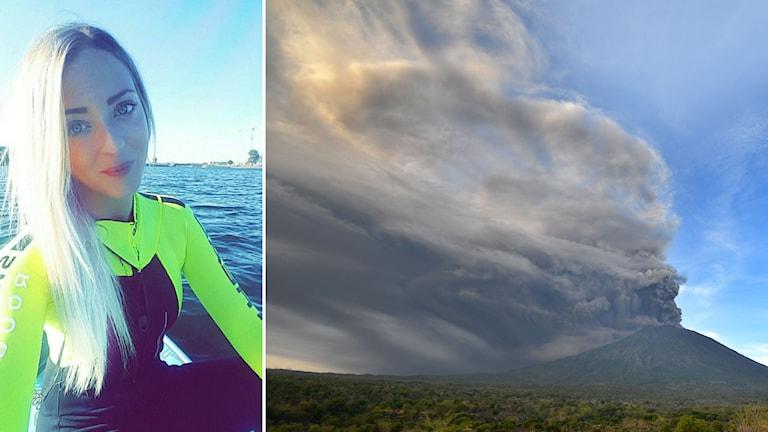 Emelie Rosenqvist och en bild på vulkanen Agung.