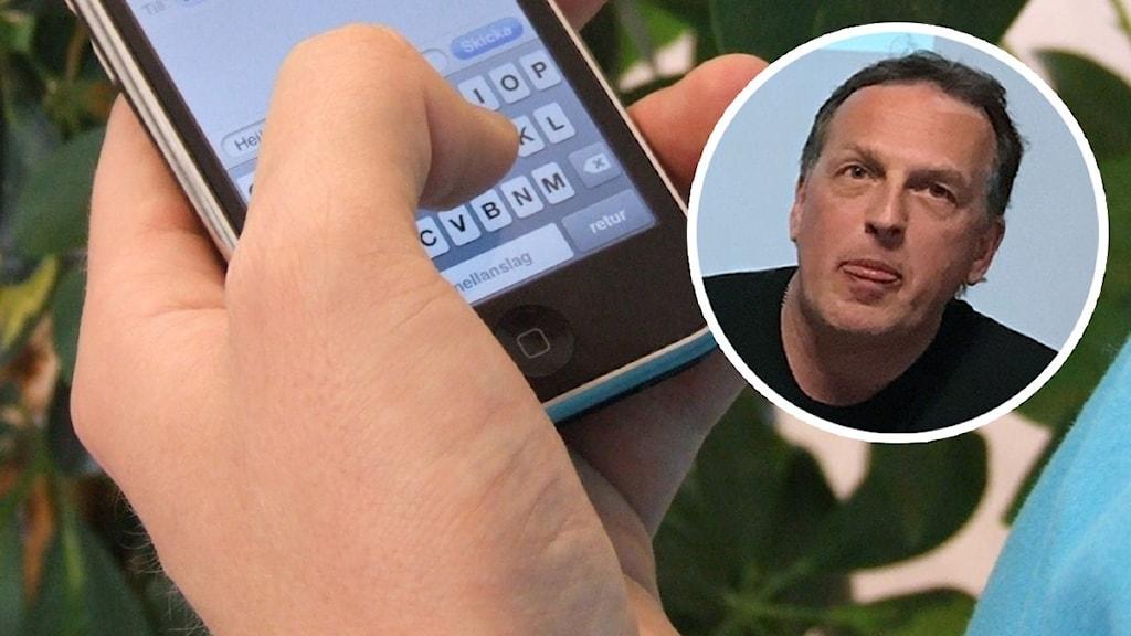 Person som skriver ett sms på en telefon och en inklippt bild på en man med mörkt hår.