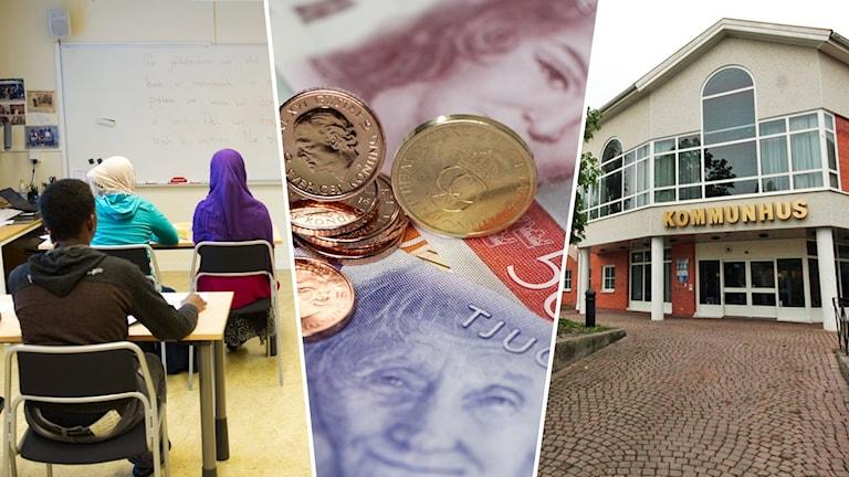 Tre bilder i ett. Några skolbarn med utländsk härkomst, sedlar och mynt samt ett kommunhus.