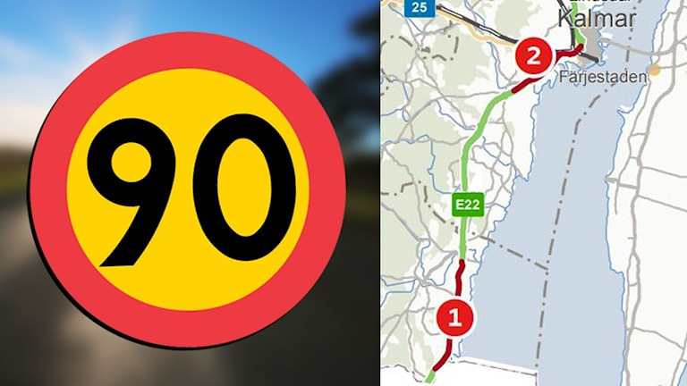 Karta på de vägavsnitt som får ändrade hastighetsgränser och en 90-skylt.
