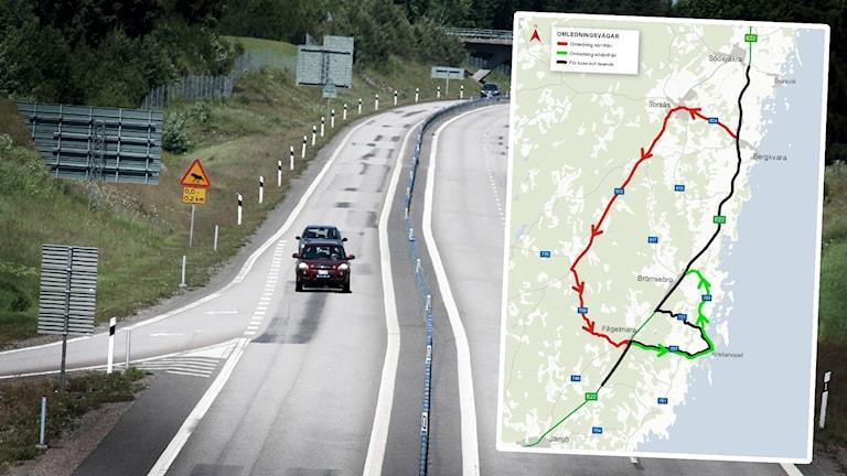 En karta inklippt på en bild över en motorväg.